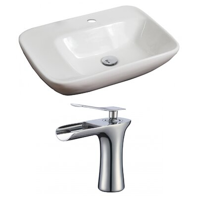 Ceramic 23 Wall Mount Bathroom Sink with Faucet and Overflow