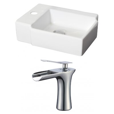 Rectangular Vessel Bathroom Sink with Overflow
