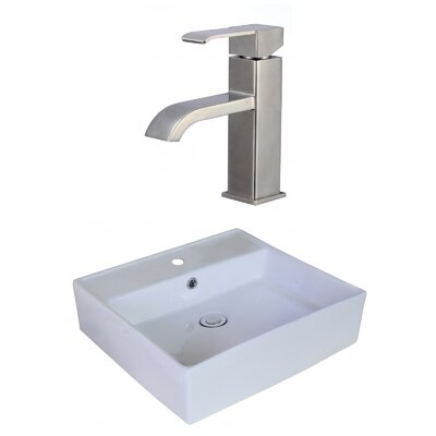 Square Vessel Bathroom Sink with Overflow