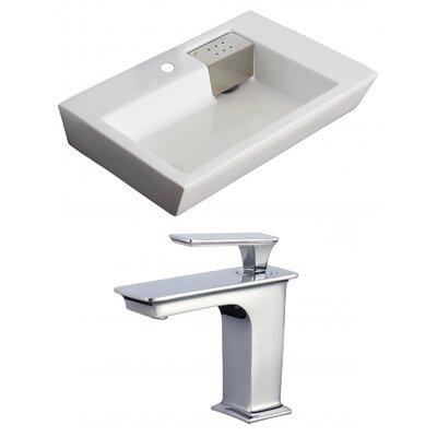 Rectangular 26 Wall Mount Bathroom Sink with Overflow