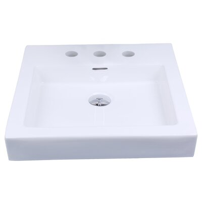 Rectangular Vessel Bathroom Sink with Overflow Faucet Mount: 8