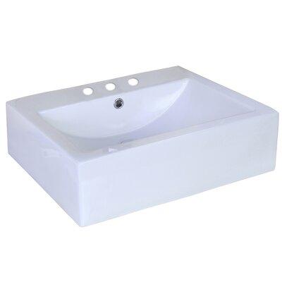 Ceramic Rectangular Vessel Bathroom Sink Faucet Mount: 4 Center