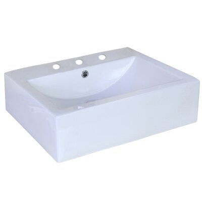 Ceramic Rectangular Vessel Bathroom Sink Faucet Mount: 8 Center