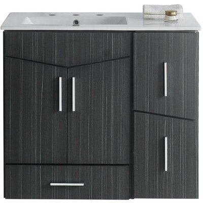 Kapp Modern Wood Wall Mount 35.5 Single Bathroom Vanity Set