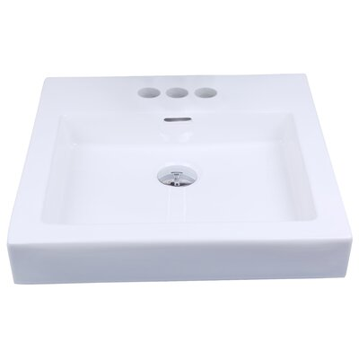Ceramic Rectangular Vessel Bathroom Sink with Overflow Faucet Mount: 4 Center