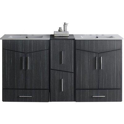 Kapp Wall Mount 61.5 Double Bathroom Vanity Set Faucet Mount: 4 Centers