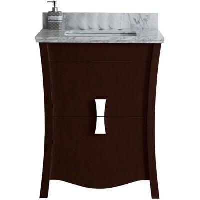 Cataldo Floor Mount 24 Single Bathroom Vanity Set with 8 Centers Faucet Mount Base Finish: Coffee, Top Finish: Bianca Carara, Sink Finish: Biscuit