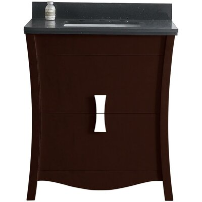 Cataldo Floor Mount 31 Single Bathroom Vanity Set Base Finish: Coffee, Top Finish: Black Galaxy, Sink Finish: Biscuit