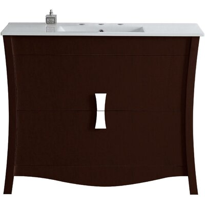 Cataldo Floor Mount 48 Single Bathroom Vanity Set Finish: Coffee, Faucet Mount: 4 Centers
