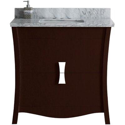 Cataldo Floor Mount 36 Single Bathroom Vanity Set with 4 Centers Faucet Mount Base Finish: Coffee, Top Finish: Bianca Carara, Sink Finish: Biscuit