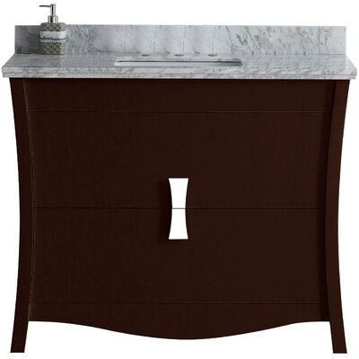 Cataldo Floor Mount 48 Single Bathroom Vanity Set with 8 Centers Faucet Mount Base Finish: Coffee, Top Finish: Bianca Carara, Sink Finish: Biscuit