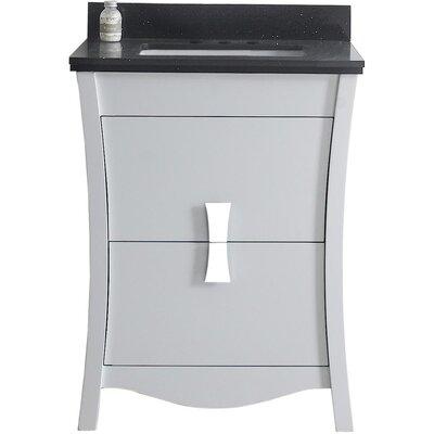 Cataldo Floor Mount 24 Single Bathroom Vanity Set  Base Finish: White, Top Finish: Black Galaxy, Sink Finish: White