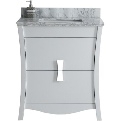 Cataldo Floor Mount 31 Single Bathroom Vanity Set Base Finish: White, Top Finish: Bianca Carara, Sink Finish: Biscuit