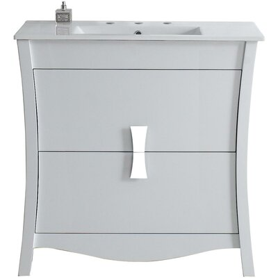Cataldo Modern Glazed Floor Mount 35.5 Single Bathroom Vanity Set