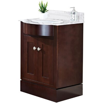 Kimbrough Floor Mount 25.5 Single Bathroom Vanity Set Top Finish: Bianca Carara, Sink Finish: White, Faucet Mount: 4 Centers