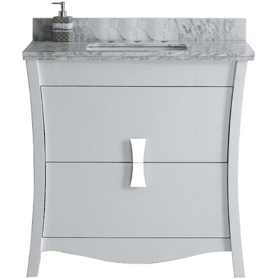 Cataldo Floor Mount 36 Single Bathroom Vanity Set with 8 Centers Faucet Mount Top Finish: Bianca Carara, Sink Finish: Biscuit, Base Finish: White