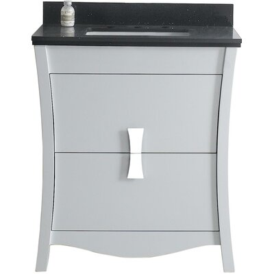 Cataldo Floor Mount 31 Single Bathroom Vanity Set Base Finish: White, Top Finish: Black Galaxy, Sink Finish: Biscuit
