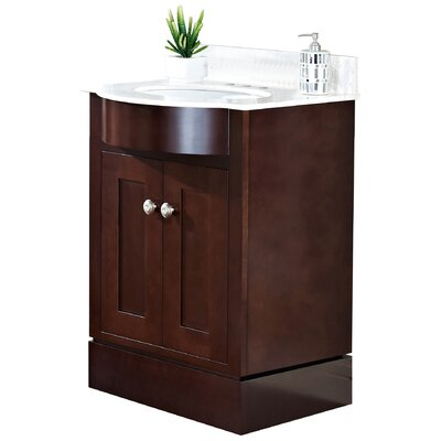 Kimbrough Floor Mount 25.5 Single Bathroom Vanity Set Sink Finish: White, Faucet Mount: 4 Centers, Top Finish: Beige
