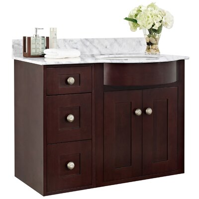 Kester 36 Multi-layer Stain Bathroom Vanity Top Finish: White, Faucet Mount: 4 Center