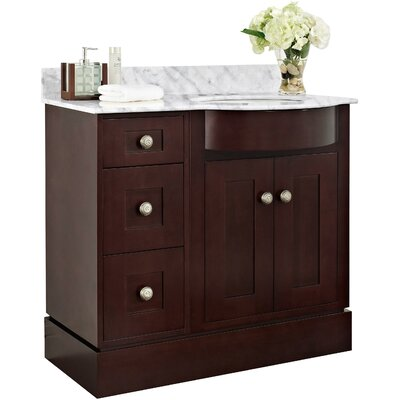 Kester Transitional 36 Wood Bathroom Vanity Top Finish: White, Faucet Mount: 4 Center