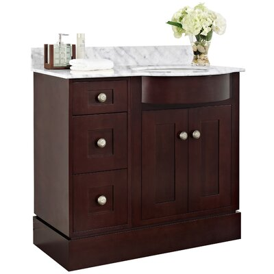 Tiffany 36 Bathroom Vanity Top Finish: Biscuit, Faucet Mount: Single