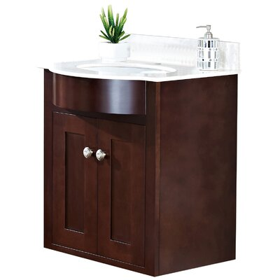 Kimbrough Wall Mount 25.5 Single Bathroom Vanity Set Top Finish: Bianca Carara, Sink Finish: White, Faucet Mount: 8 Centers