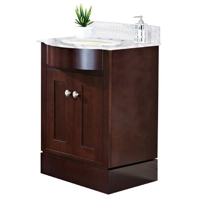 Kimbrough Floor Mount 25.5 Single Bathroom Vanity Set Top Finish: Bianca Carara, Faucet Mount: 8 Centers, Sink Finish: Biscuit