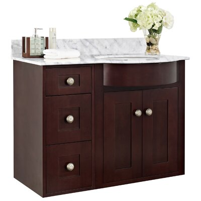 Kimbrough Wall Mount 37.8 Single Bathroom Vanity Set Faucet Mount: 8 Centers, Sink Finish: White, Top Finish: Bianca Carara
