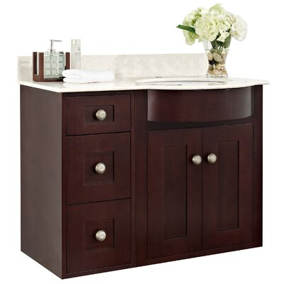 Kester Transitional 36 Bathroom Vanity Top Finish: White, Faucet Mount: Single