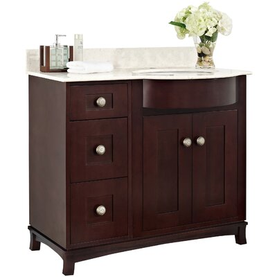 Kimbrough Floor Mount 37.8 Single Bathroom Vanity Set Top Finish: Bianca Carara, Sink Finish: Biscuit, Faucet Mount: 4 Centers