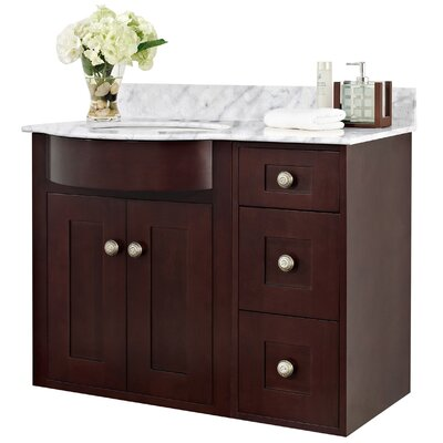 Tiffany 36 Bathroom Vanity Top Finish: White, Faucet Mount: 4 Center