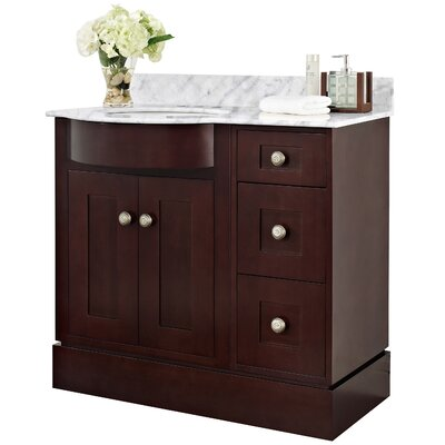 Kimbrough Floor Mount 37.8 Single Bathroom Vanity Set Sink Finish: White, Faucet Mount: 4 Centers, Top Finish: Bianca Carara