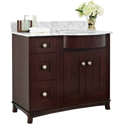 Kimbrough Floor Mount 37.8 Single Bathroom Birch Wood Vanity Set Sink Finish: Biscuit, Faucet Mount: 4 Centers, Top Finish: Bianca Carara