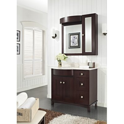 Kester Transitional 36 Rectangle Single Bathroom Vanity Set Top Finish: Biscuit, Faucet Mount: 4 Center