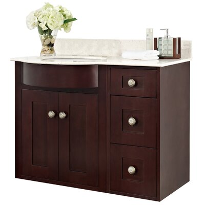 Kester Transitional 36 Multi-layer Stain Bathroom Vanity Top Finish: White, Faucet Mount: 4 Center
