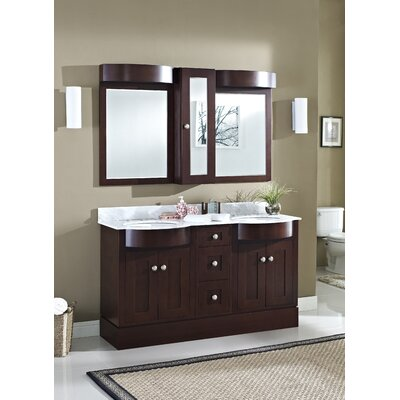 Kester 60 Bathroom Vanity Sink Finish: White, Faucet Mount: 8 Center