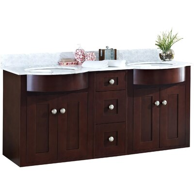 Kimbrough Wall Mount 60 Single Bathroom Vanity Set Top Finish: Bianca Carara, Sink Finish: White, Faucet Mount: 8 Centers
