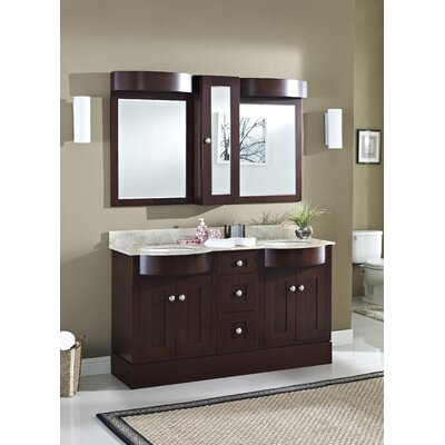 Kester Transitional 60 Double Bathroom Vanity Set Sink Finish: Biscuit, Faucet Mount: 8 Center