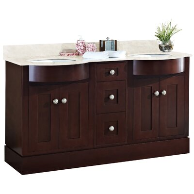 Kimbrough Floor Mount 60 Single Bathroom Vanity Set Faucet Mount: 8 Centers, Top Finish: Beige, Sink Finish: White