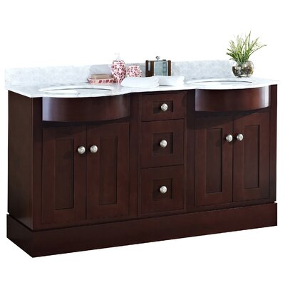 Kimbrough Floor Mount 60 Single Bathroom Vanity Set Top Finish: Bianca Carara, Faucet Mount: 4 Centers, Sink Finish: White