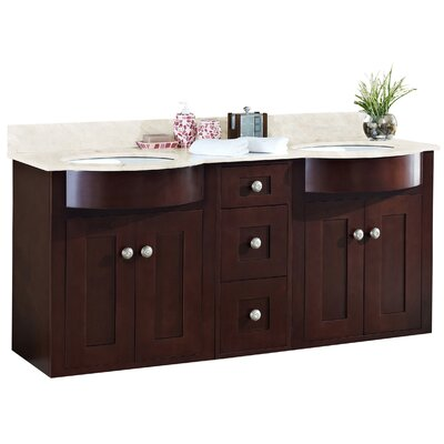 Tiffany 60 Double Bathroom Vanity Set Sink Finish: White, Faucet Mount: Single