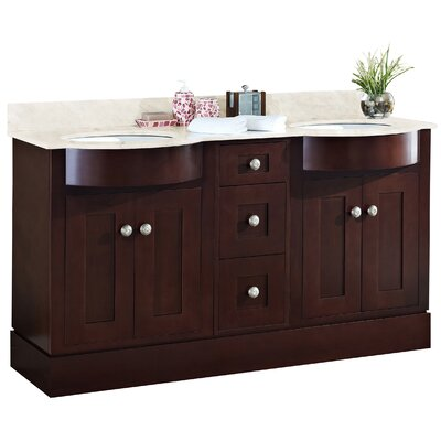 Kimbrough Floor Mount 60 Single Bathroom Vanity Set Top Finish: Bianca Carara, Sink Finish: White, Faucet Mount: 4 Centers
