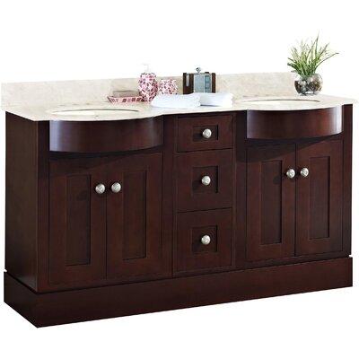 Kimbrough Floor Mount 60 Single Bathroom Vanity Set Sink Finish: Biscuit, Faucet Mount: 4 Centers, Top Finish: Beige