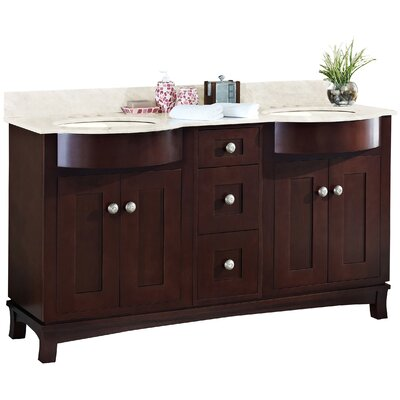 Kimbrough Floor Mount 60 Single Bathroom Transitional  Vanity Set Sink Finish: Biscuit, Faucet Mount: 4 Centers, Top Finish: Beige