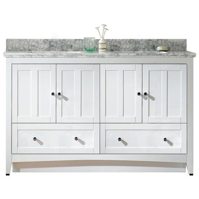 Nixon Floor Mount 59 Single Bathroom Rectangular Vanity Set Sink Finish: Biscuit, Faucet Mount: 8 Centers, Base Finish: White