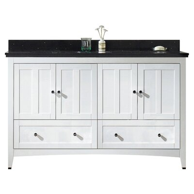 Nixon Floor Mount 59 Single Bathroom Modern Vanity Set Sink Finish: Biscuit, Faucet Mount: 8 Centers, Base Finish: White