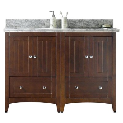 Nixon Floor Mount 47.5 Double Bathroom Vanity Set Top Finish: Bianca Carara, Sink Finish: Biscuit, Faucet Mount: 8 Centers