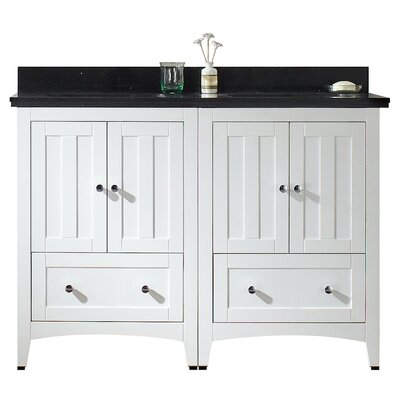 47.5 Double Bathroom Vanity Set Top Finish: Black Galaxy, Faucet Mount: 8 Center, Base Finish: White