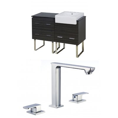 Mulberry Floor Mount 48 Single Bathroom Rectangular Vanity Set Faucet Mount: 8 Centers