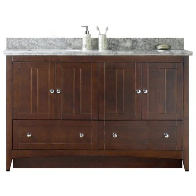 59.5 Double Bathroom Vanity Set Base Finish: Walnut, Faucet Mount: Single, Top Finish: Bianca Carara